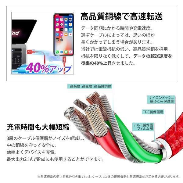 iPhone 充電ケーブル 3本セット 1m 1.5m 2m 充電器 断線防止 急速充電 iPhone11 iPhoneX iPhone各種 対応 アイフォン コード  送料無料 planetcord 90日保証|i-concept|10
