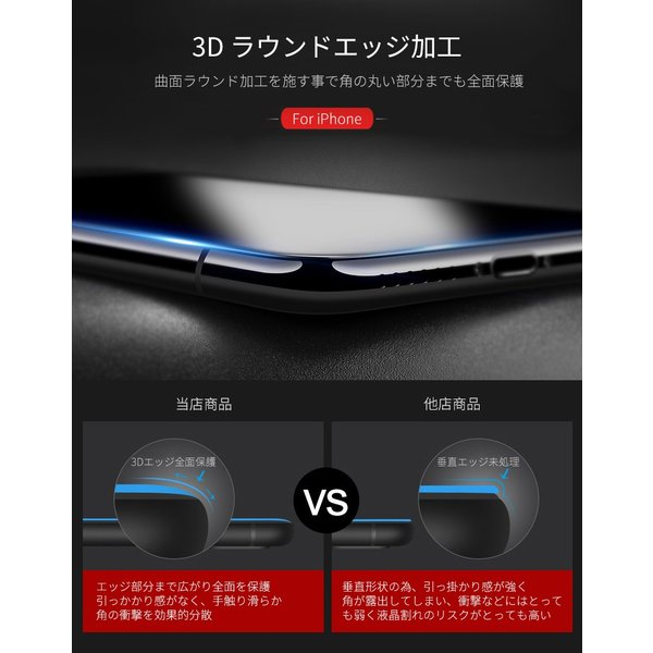 iPhone 強化ガラスフィルム 保護フィルム ブルーライトカット iPhone8 iPhone7 iPhone6 Plus 対応 フィルム 全面保護 PET3Dソフトエッジ i-concept 09