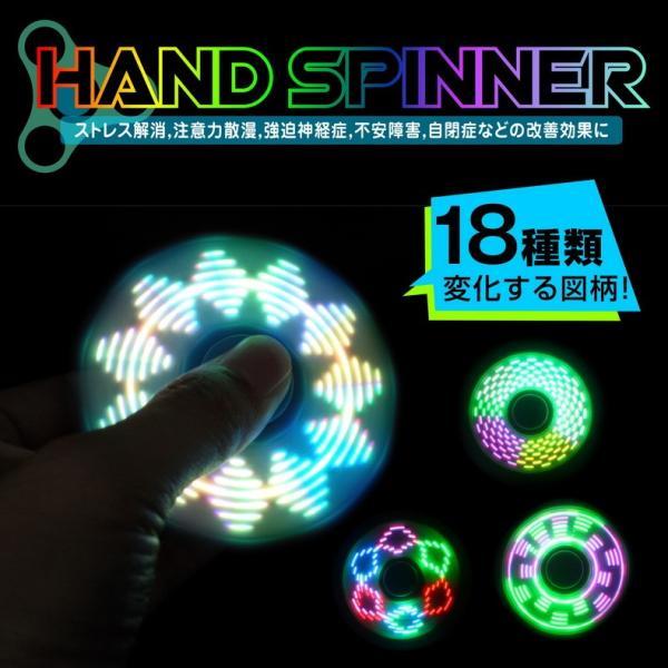 ハンドスピナー Hand spinner 光る LED ICチップ搭載 18パターンの図柄に変化 軽量 知育玩具 ストレス解消 子供 おもちゃ 特価セール|i-concept|02