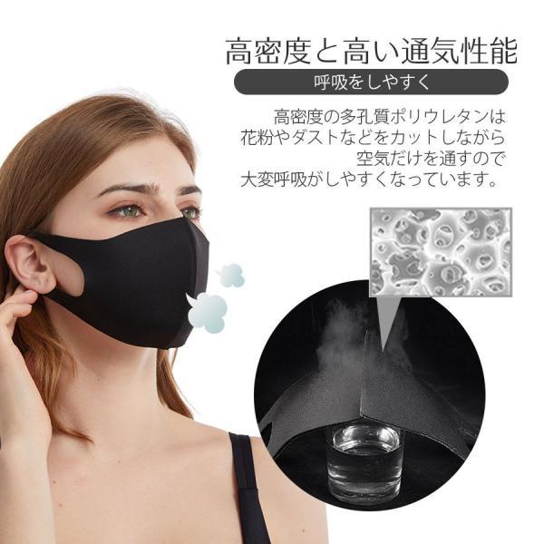還元セール マスク 5枚セット 蒸れない 夏用 涼しめ ウレタンマスク 在庫あり 立体 大人用 子供用 3D 洗える 花粉対策 風邪 ブラック|i-concept|07