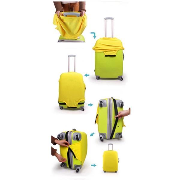 スーツケースカバー 伸縮素材 【DauStage】 キャリーケース バッグ カバー 選べる 8色 3サイズ ナイロン製リュック付き (13,パープル  i-labo 05