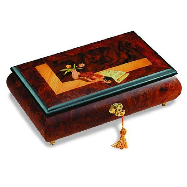 REUGE リュージュオルゴール ニレとクルミのこぶ材楽器象嵌の宝石箱1曲36弁