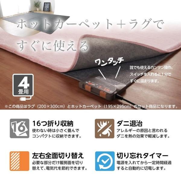 ホットカーペット 4畳 本体セット マイクロファイバー 「フィリップ」 約200x300cm 長方形 床暖房 電気カーペット