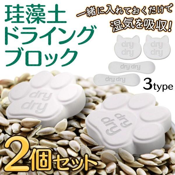 珪藻土ドライングブロック 2個セット 調湿に優れた 乾燥剤 2P おしゃれ 調味料容器に入れるだけ 塩/茶葉/コーヒー豆 かんたん長期保存 選べる4種 ◇ dryブロック