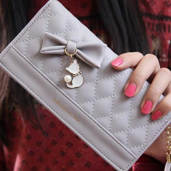 レディースファッション リボン 結び猫パール装飾革女性長財布 財布 女性用 サイフ ウォレット 小物 札入れ