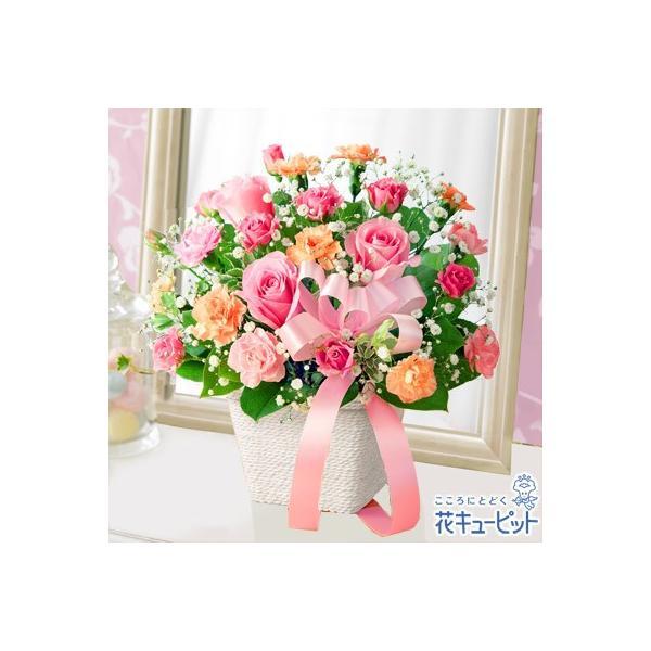 母の日ギフト 花キューピットのピンクリボンのアレンジメント
