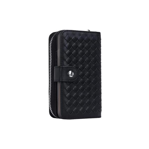 スマホケース iphone8 plus iphone7 plus iphone6 plus スマホカバー アイフォン ケース i Phone アイホン GALAXY 財布 手帳型 編み込み カード ファスナー 小銭|iah-rare-case-shop|02