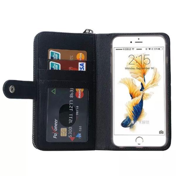 スマホケース iphone8 plus iphone7 plus iphone6 plus スマホカバー アイフォン ケース i Phone アイホン GALAXY 財布 手帳型 編み込み カード ファスナー 小銭|iah-rare-case-shop|03