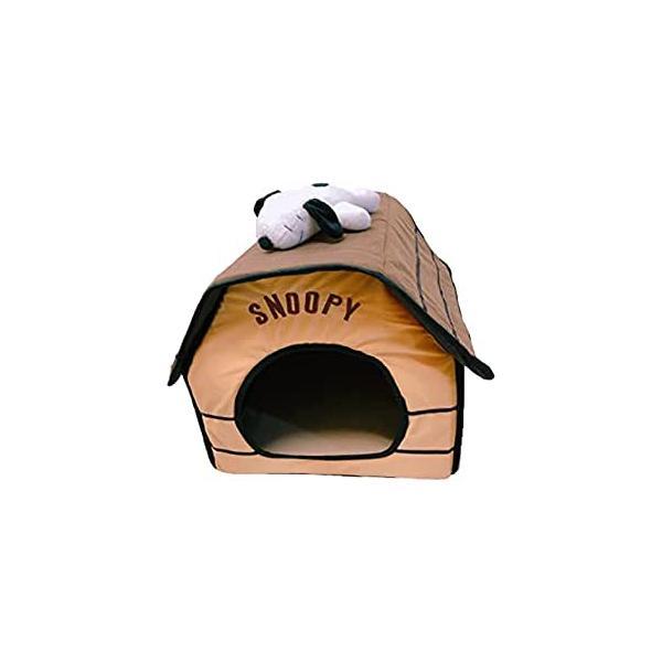 高齢犬にも優しいソフトなハウス スヌーピー ペットハウス 組み立てチョー簡単ペットハウス 赤やね ベージュや屋根 ブラウンやね ぬいぐるみ付