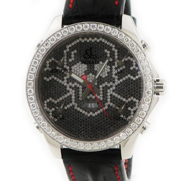 ジェイコブJACOB&Co5タイムゾーンJC-SKULLD11スカル純正ダイヤ47mmメンズクォーツ腕時計ウォッチファイ