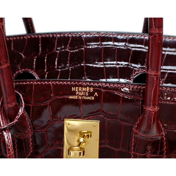 エルメス HERMES バーキン35 クロコダイル ポロサス ルージュアッシュ ゴールド金具 □F刻印 レディース 定番 人気 美品