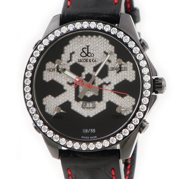 ジェイコブJACOBファイブタイムゾーンスカルJC-SKULL10D純正ダイヤ PVD47mmブラックメンズ腕時計クオーツシルバ