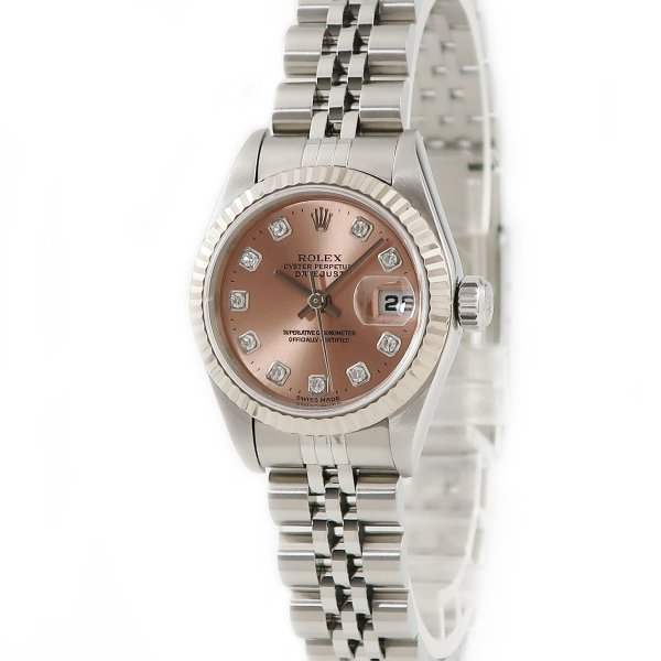 ロレックスROLEXデイトジャスト79174G純正ダイヤK18WG×SSA番ピンクレディース腕時計自動巻きピンク中古