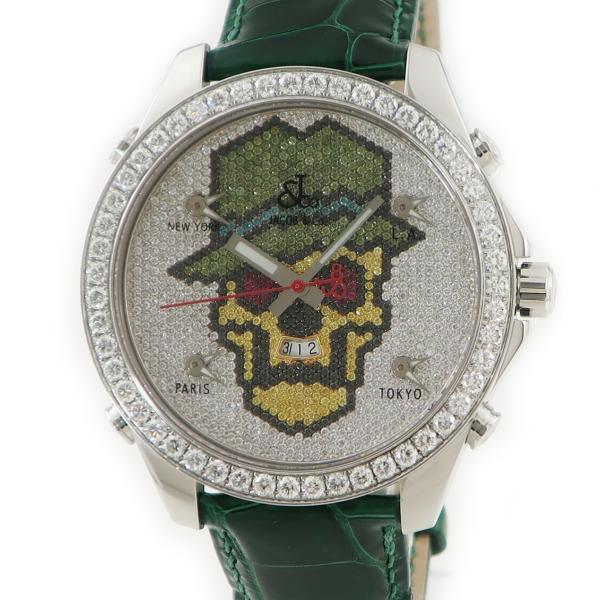 ジェイコブJACOB5タイムゾーンカラースカル純正ダイヤメンズ腕時計クオーツホワイトグリーンイエローレッド中古
