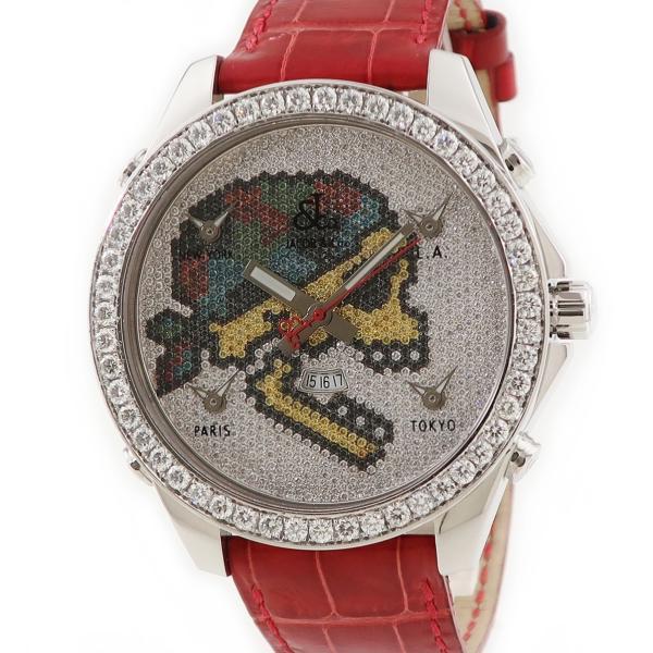 ジェイコブJACOBファイブタイムゾーンスカルJC-SKULL5D純正ダイヤメンズ腕時計クオーツシルバー中古