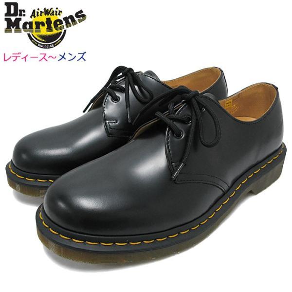ドクターマーチン ブーツ Dr.Martens 3ホール レディース & メンズ 1461 3アイ ギブソン シューズ ブラック(3 EYE GIBSON SHOE R11838002)|icefield