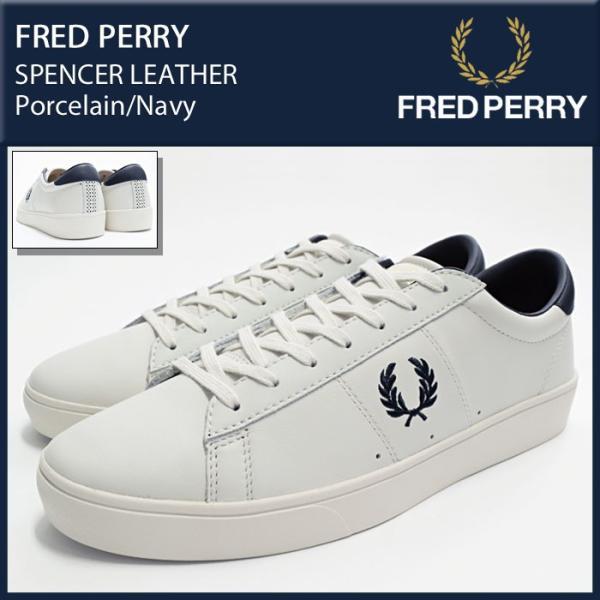フレッドペリー FRED PERRY スニーカー メンズ 男性用 スペンサー レザー Porcelain Navy(FREDPERRY B7521U  ... 63268605b5