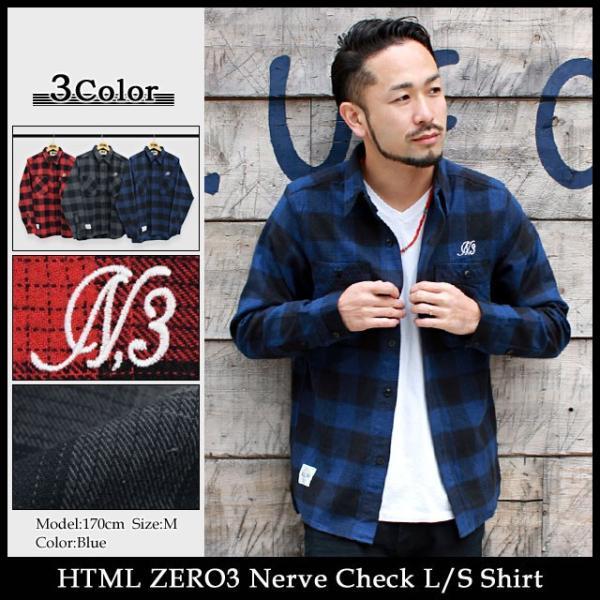エイチティエムエル ゼロスリー HTML ZERO3 シャツ 長袖 メンズ ナーブ チェック(html zero3 Nerve Check L/S Shirt ネルシャツ トップス)|icefield