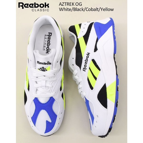 8bb0ff37567 ... リーボック スニーカー Reebok メンズ 男性用 アズトレック OG White/Black/Cobalt/Yellow ...
