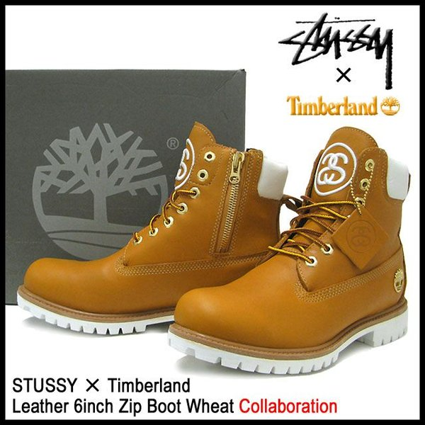 TIMBERLAND X STUSSY ステューシー X Timberland collaboration W name leather 6 inches zip boots ウィート LEATHER 6