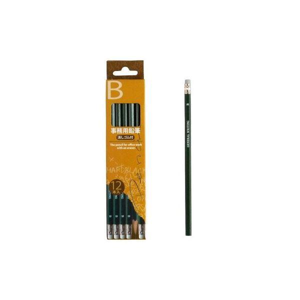 B事務用鉛筆消しゴム付12本入 〔12個セット〕 32-775(同梱・代引不可)