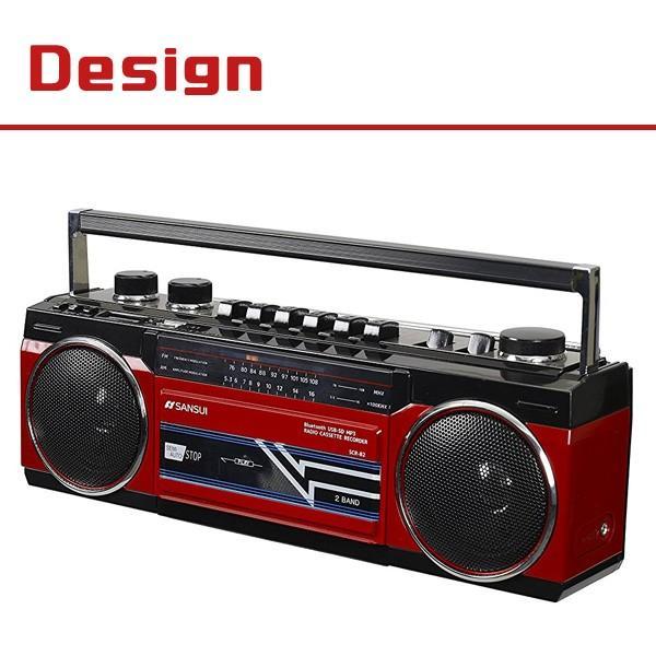 ラジカセ Bluetooth 懐かし レトロ調 MP3 ラジオ カセット 80年代のラジカセを思い出すレトロデザイン SANSUI サンスイ SCR-B2|ichibankanshop|03