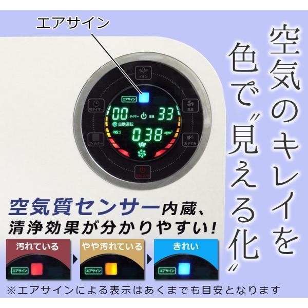 空気清浄機 おしゃれ デザイン 花粉 PM2.5 小型 マイナスイオン 空気質センサー Sunruck 13畳 HEPAフィルター搭載 PM2.5対応 SR-AC802-WH|ichibankanshop|09