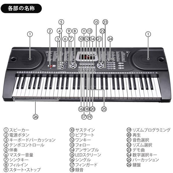 電子キーボード 電子ピアノ プレイタッチ 持ち歩き 電池対応 インサイト61 61鍵盤 電子楽器 入門用 デモ曲 ヘッドホン マイク対応 Sunruck サンルック SR-DP06|ichibankanshop|17
