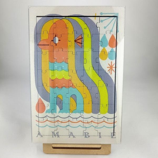 【アマビエ 木製ジグソーパズル(スタンド付)】グッズ かわいい イラスト プレゼント インテリア