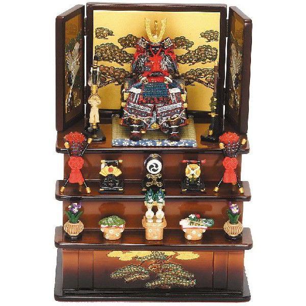 五月人形コンパクト鎧飾り5161鎧大青三段飾り(茶)初節句ミニチュア兜飾り内祝い男の子段飾り三段飾り