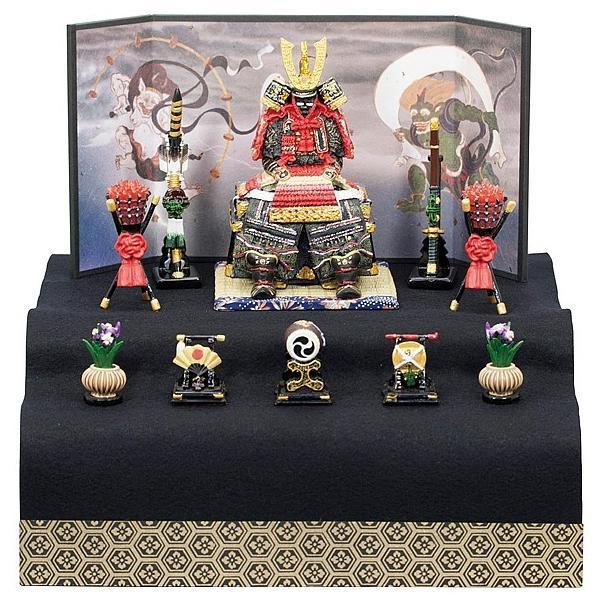 五月人形鎧飾りコンパクト5260鎧大赤新二段飾り初節句段飾りミニチュア兜飾り内祝い男の子ディスプレイ