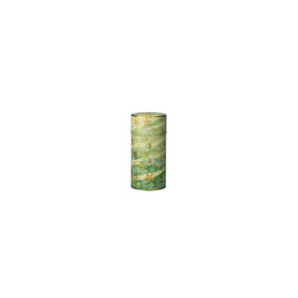 茶筒 茶缶 お茶(茶葉)を入れる缶 印刷缶 「花あそび 緑 200g用缶」