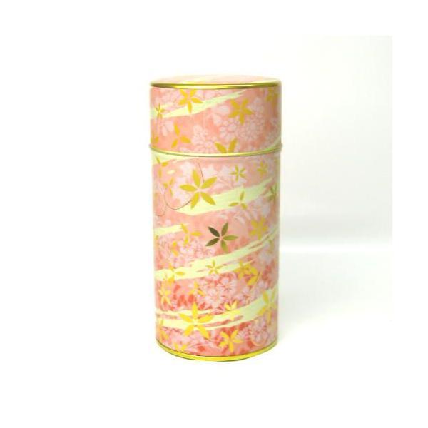 茶筒 茶缶 お茶(茶葉)を入れる缶 印刷缶 「花あそび ピンク 200g用缶」