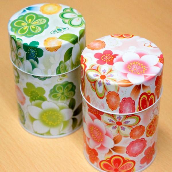 茶筒 茶缶 お茶を入れる缶 印刷缶  「はなおもい 100g用缶 1缶」 かわいい缶