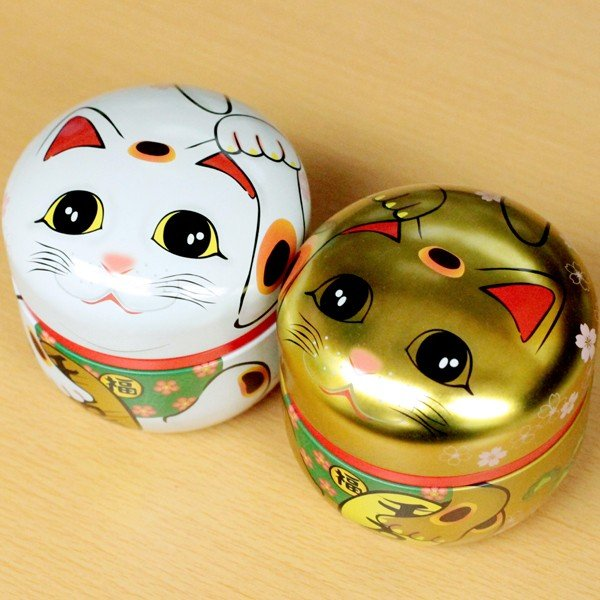 茶筒 招き猫缶 100g用缶 1缶 鈴子 招き猫