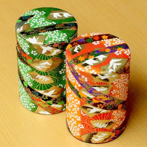 茶筒 和柄が綺麗な茶筒 和紙張り缶 100g用缶 1缶 茶缶 「友禅」