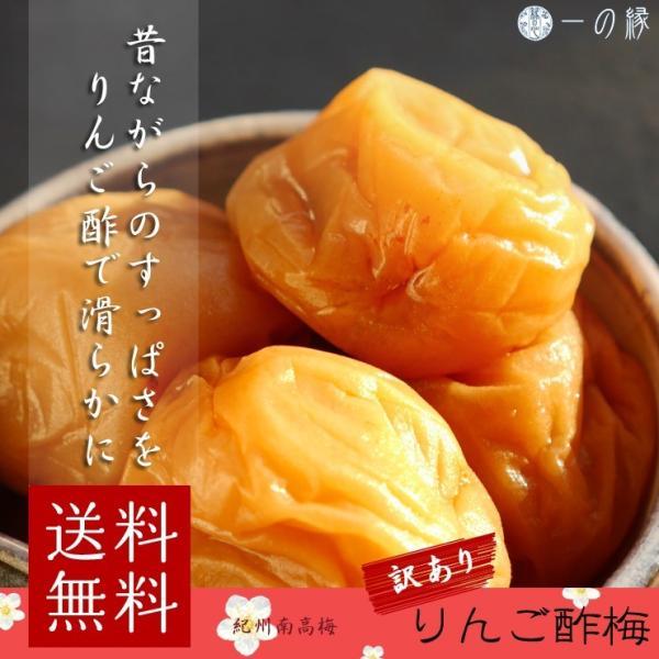 訳あり 化学調味料無添加 紀州南高梅 リンゴ酢梅干し 塩分15% 600g (100g×6)