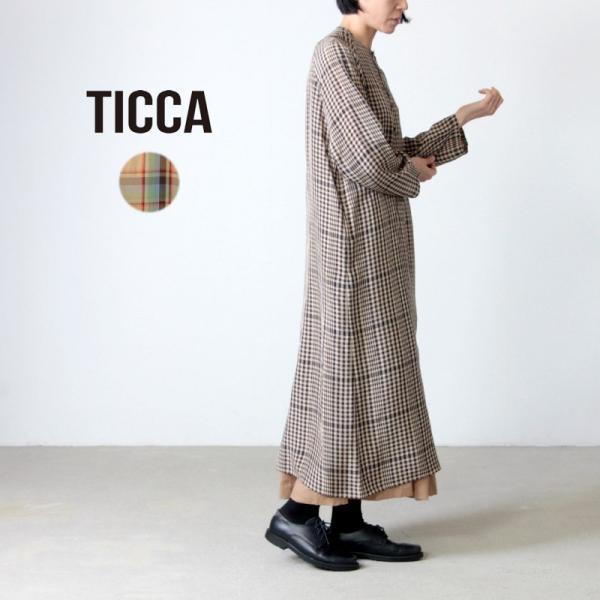 TICCA (ティッカ) ノーカラーラグランシャツワンピース|icora