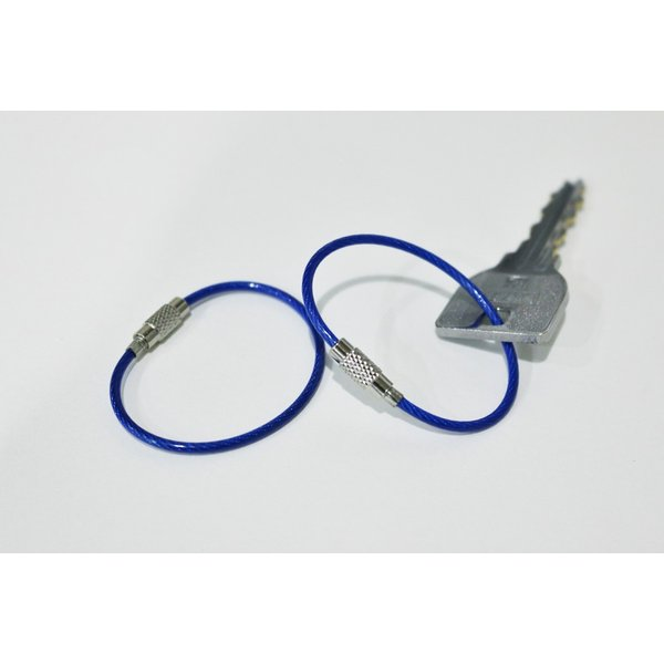 【10本セット】ブルー ステンレスキーリング ワイヤーリング キーホルダー キーチェーン パーツ id-manage 02