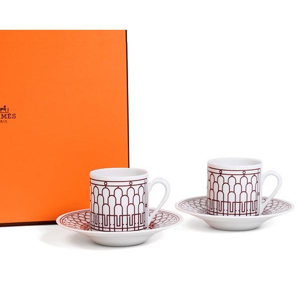 エルメス アッシュデコ ルージュ コーヒーカップ&ソーサー ペア HERMES H Deco Rouge|ideale