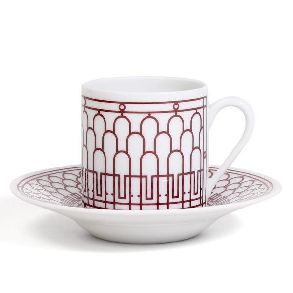 エルメス アッシュデコ ルージュ コーヒーカップ&ソーサー ペア HERMES H Deco Rouge|ideale|02
