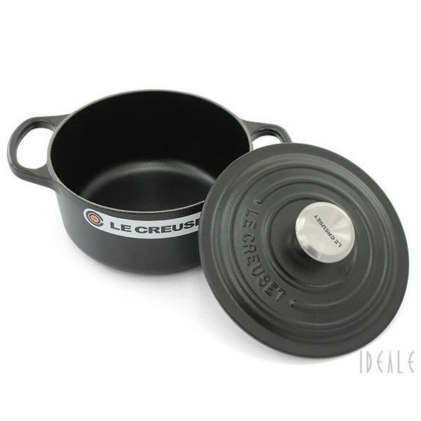 ルクルーゼ(ル・クルーゼ) 両手鍋 ココットロンド 21177-16cm ブラック00 (つまみシルバー)|ideale|04