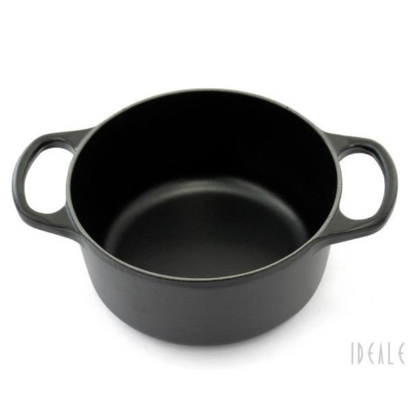 ルクルーゼ(ル・クルーゼ) 両手鍋 ココットロンド 21177-16cm ブラック00 (つまみシルバー)|ideale|06