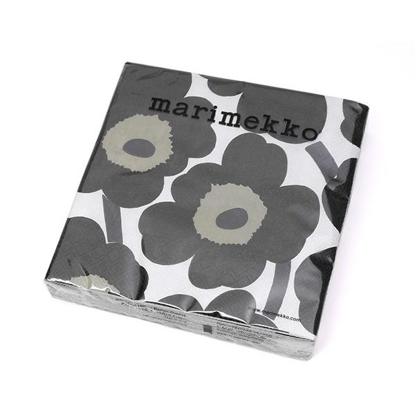 マリメッコ ペーパーナプキン ウニッコ ホワイト/ブラック 33x33cm 20枚入り marimekko UNIKKO|ideale