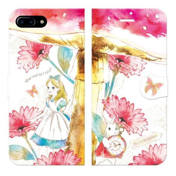 iPhone8Plus iPhone7Plus 手帳型 ケース カバー 不思議の国のアリス グッズ ハート 女王 プリンセス 白うさぎ 女の子 idesignstore