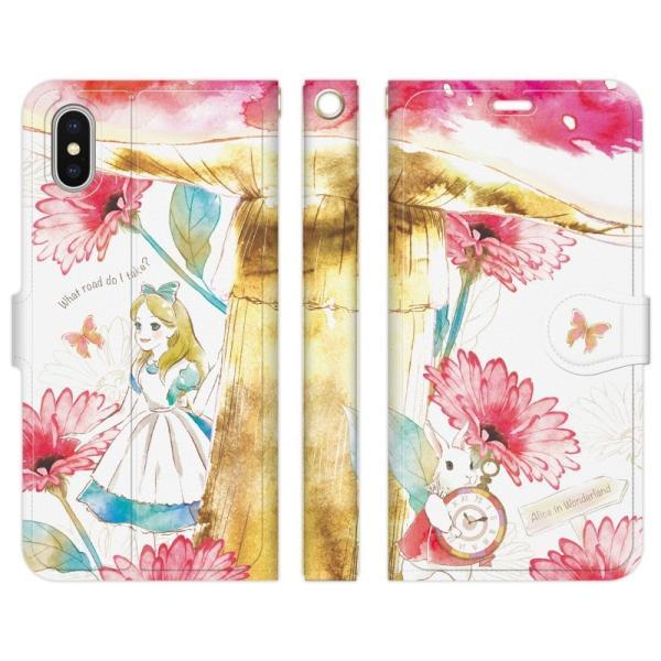 iPhoneXS Max 手帳型 ケース カバー 不思議の国のアリス NoA グッズ ハート 女王 プリンセス 白うさぎ 女の子 idesignstore