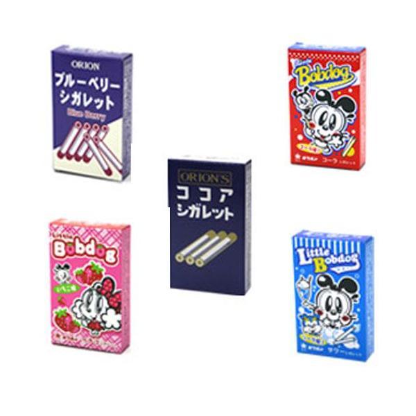 シガレット(ココア・コーラ・サワー・イチゴ・ブルーベリー)全5種1箱6本入x30箱オリオン製菓