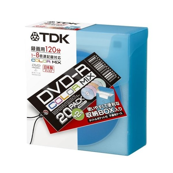 TDK DVD-R録画用 1-8倍速記録対応 5色カラーミックス 不織布入り22枚パック DVD-R120CMX22FK