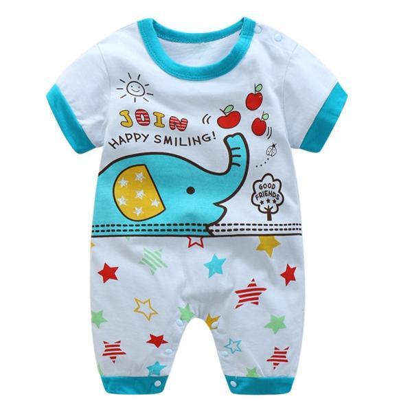 a598b5d0bb7ab エルフ ベビー(Fairy Baby) ベビー服 半袖ロンパース 可愛い象柄 ブルー サイズ:95