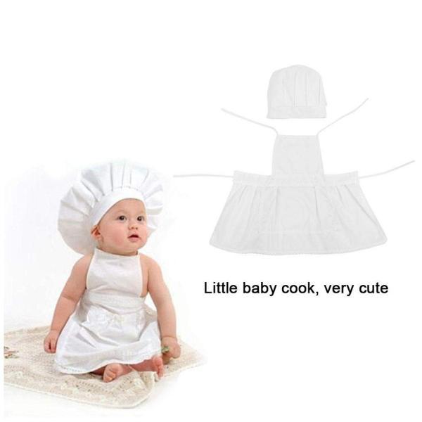8085ce6383ba8 ベビー服 寝相アート 可愛い コスチューム 着ぐるみ 赤ちゃん 子供 スーツ 新生児 衣装 クックスタイル 帽子 エプロンシェフ